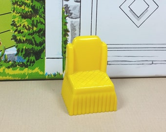 "MARX BEDROOM CHAIR, Hard Plastic, 1/2"" Traditional Style, 1950's, Vintage Tin Dollhouse Furniture"