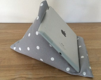 Grey tablet cushion, iPad stand, grey and white spotty fabric, iPhone stand, tablet holder, kindle pilllow, gadget cushion, tablet stand