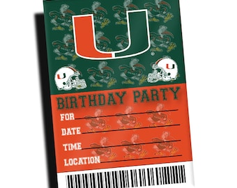 Miami Hurricanes Birthday Party Invitations 10 Pack Authentic Team Spirit Store Product