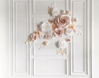 Paper Flower Backdrop - Wedding Backdrop - Ceremony Backdrop - Wedding Reception Backdrop (code:#115)