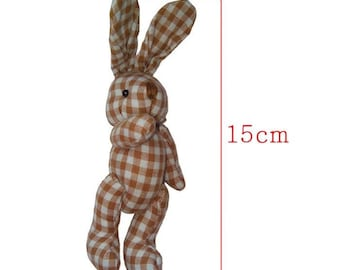 Brown gingham fabric Bunny size 15cm for creation, birth or Easter decoration.