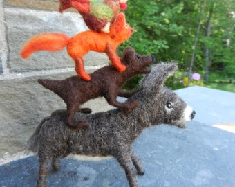 Needle felted Musicians of Bremen ,Fairy tale, story telling