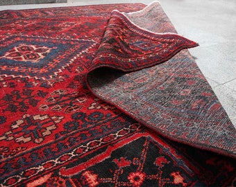 """11'11"""" x 8'2"""" Distressed Red Classic Hand-Knotted Floral traditional Persian Rug,  oriental Hand knotted Vintage  Rug S2038"""
