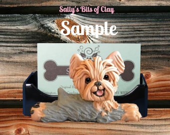 Grey and Tan Yorkie Yorkshire Terrier dog Business Card Holder / Iphone / Cell phone / Post it Notes OOAK sculpture by Sally's Bits of Clay