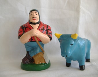 Ceramic Vintage Paul Bunyan and Babe Salt and Pepper Shakers