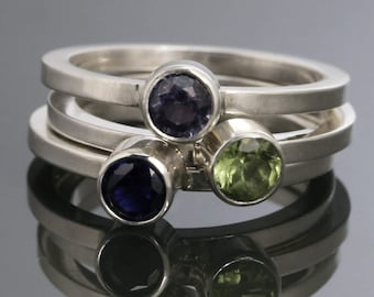 3 Stackable Rings: Lab-Created Birthstone Rings. Sterling Silver. Stacking Rings. Made to Order.
