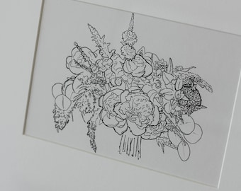 Custom Bouquet Drawing (Watercolor or Line Drawing) for First Anniversary