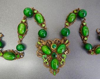 Czech, Neiger, Green Glass, Brass, and Lime Green Enamel Necklace