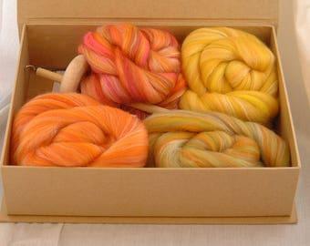 DROP SPINDLE KIT beginners' yarn spinning kit with Merino wool silk crafty gift
