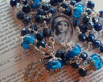 Catholic Rosary Sterling Silver Blue Unbreakable Free Shipping
