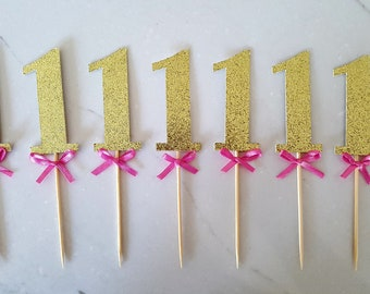 1 with Ribbon Cupake Toppers