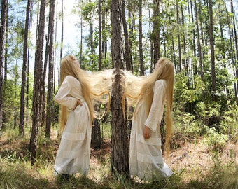 The Riddle - FREE SHIPPING Surreal Photo Print Bright Art Colorful Portrait Square Blond Twins Long Hair Stuck Tree White Light Creepy Decor