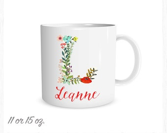 Floral Inital and Name Custom Coffee Cup, Personalized Mug, Any Colors Monogram Mug, Custom Coffee Cup, Gold, Silver or Pink Metalic