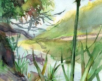 River landscape watercolor painting - flower art print of original painting
