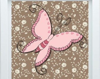 3D Butterfly Wall Decor Pink Brown Baby Girl Room Decor, One 12X12 Print Choose Your Color Christmas Gift Baby Shower Gift
