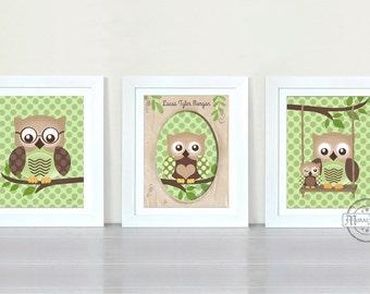 Owl Nursery Decor - Owl Prints Nursery wall art ,Set of three Prints, Boys Woodland Owl Nursery Art
