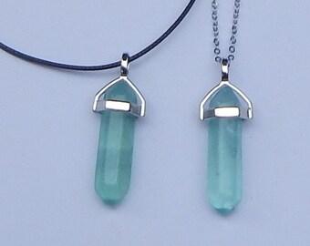 Fluorite Crystal Necklace, Green Fluorite Crystal Point Necklace, Green Fluorite Crystal Pendants, Crystal Necklace, Crystal Point Necklace