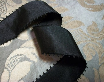 2 yards - Vintage Black Taffeta Picot Ribbon-Looped Edge - 1.5 inches wide - Made in Switzerland - Millinery Quality