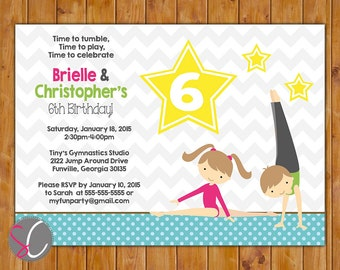 Gymnastic Party Invitation Tumble Gym Invite Personalized Gymnastics 3rd 4th 6th 8th Boy Girl Joint Neutral Birthday 5x7 Digital JPG (434)