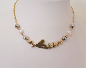 Mother's bird necklace. Little Bird necklace. Chain Necklace. Bird Necklace.