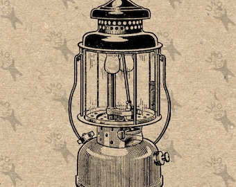 Vintage image antique Camping Lamp Instant Download Digital printable picture clipart graphic Stickers Burlap Fabric Transfer  HQ 300dpi