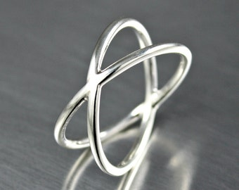 Silver Rings, Sterling Silver Criss Cross Ring, X Ring