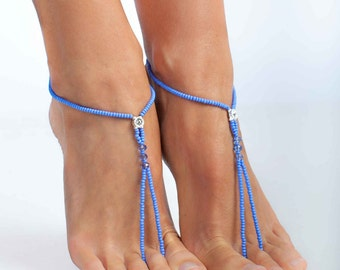 Blue Beaded Barefoot sandals Bridesmaid jewelry Beach accessory Bridesmaid gift Fashion accessory Toe ring Slave Anklet Shoes Sexy