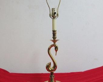 Vintage Brass Swan Lamp Desk Light