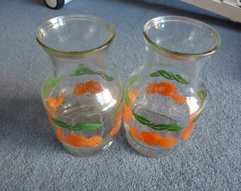 2 Vintage Anchor Hocking Glass Orange Juice Carafes/Pitchers