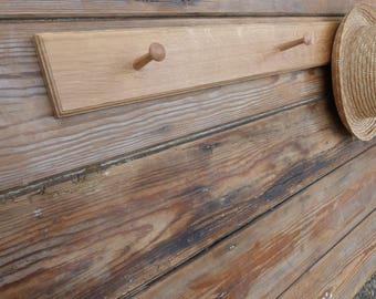 Oak Shaker-Style Peg Rack, Handmade Wooden Peg Rack