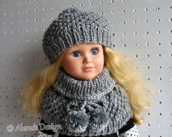Knitting Pattern 2 PC Set for 18 inch Doll Knitting Patterns Pom-Pom Hat and Collar Doll's Outfit My Life As Doll Christmas Alena's Design
