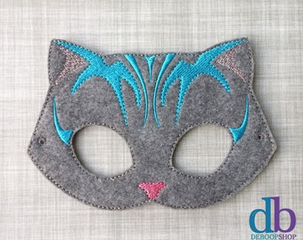 Cat Felt Embroidered Mask - Cheshire Cat - Kid & Adult - Creative Play - Halloween Costume