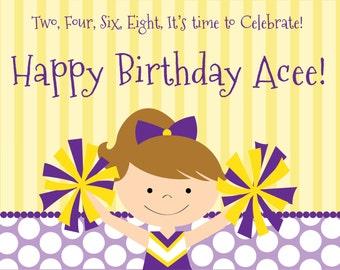 Cheerleader Birthday Printables, Cheerleader Party Decorations, Cheerleader Party, Purple and Gold Cheerleader, Lauren Haddox Designs