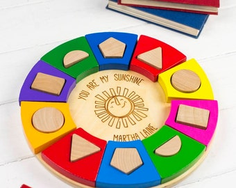 Colourful Circle Shape Sorter - Personalised Toddler Gift - Personalised Toys - Personalized Toy - Baby Toy - Rainbow - Toddler Toy