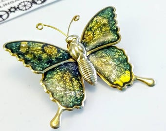 Vintage green butterfly pin, vintage butterfly pin, vintage green butterfly brooch, butterfly brooch, butterfly pin, butterfly scatter pin,