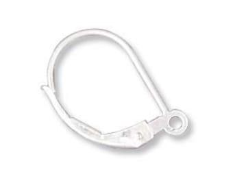 1 pr Leverback Ear Ring  w/Ring Sterling Silver 13X10mm