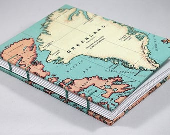 World Map Coptic Stitch Journal