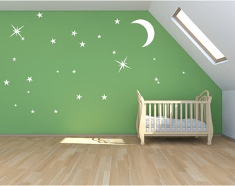 Moon and stars wall decal, magical stardust mural, sticker set.