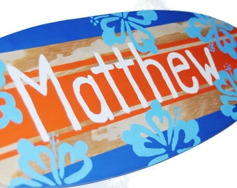Personalized Surfboard Sign, 18 inch Surfboard Wall Art, Baby Shower Decor, Personalized Gifts, Surfboard with Name Sign, Custom Beach Signs