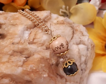 I love you, wooden bead pendant with hematite and golden accents, calming jewelry, woodburned accessories