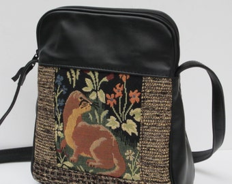 SHOULDER BAG by Elizabeth Z Mow  Fabric and Leather Ferret Quail