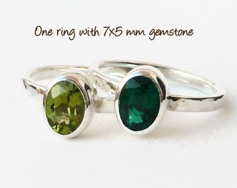 Birthstone Ring - Sterling Silver -  Stackable Ring -  Stacking Ring - Mothers Ring -  Family Ring -  citrine blue topaz  peridot amethyst