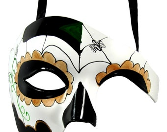 Day of the Dead Spider Masquerade Mask
