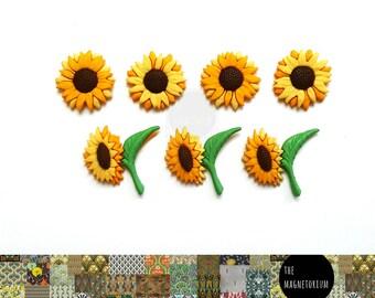 Sunflower Flower Magnets [Fridge Magnets, Fridge Magnet Sets, Refrigerator Magnets, Magnet Sets, Office Decor, Kitchen Decor, Magnetic Board