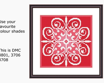 Cross Stitch Pattern, Modern Cross Stitch - FLOWER BURST cross stitch chart, Instant download PDF