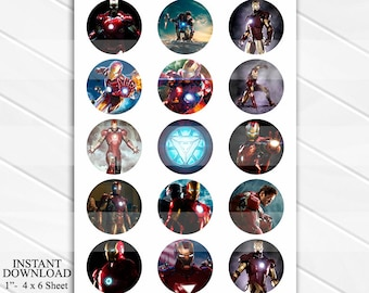 "INSTANT Download Iron Man 4x6 Digital 1"" Inch Bottle Cap Image/Digital Collage sheet"