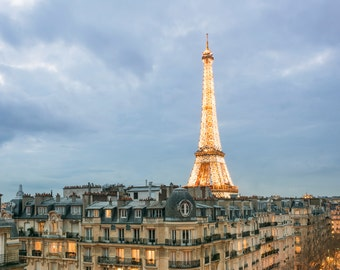 Paris Photograph - The Eiffel Tower at Twilight,Travel Photograph, French Urban Home Decor, Large Wall Art