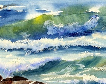Seaspray Print- Wave Watercolor- Wave Print- Beach Decor- Beach Print- Beach House Decor- Beach Painting