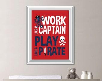 Pirate Art Print - Baby Boy Nursery Art - Pirate Nursery Art - Pirate Art - Pirate Decor - Pirate Bedroom Art - Boy Bedroom art (S-416)