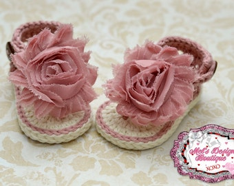 Baby sandals - crochet baby shoes - baby girl sandals - booties - crochet sandals - summer sandals - 0-6 month - mauve - baby shower gift